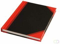 Notitieboek harde kaft zwart/rood A6 lijn 60gr 96vel