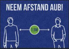Blauwe MatStyles Vloerkleed Tapijt Message Mat - Neem Afstand AUB - 85x60 - COVID-19 - Wasbaar