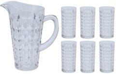 Transparante Merkloos / Sans marque Waterkan/sapkan met 6 glazen - Schenkkannen/waterkannen/limonadekannen van glas