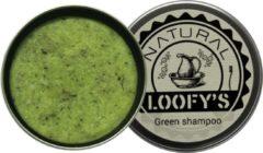 Loofy's - shampoo bar - met opberg blikje - groen - voor de normale tot droge hoofdhuid - plastic vrij, óók de verpakking (!) - 70 gram - geschikt voor de veganist
