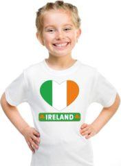 Shoppartners Ierland kinder t-shirt met Ierse vlag in hart wit jongens en meisjes S (122-128)