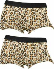Funderwear meisjes boxershorts luipaard 2-pack - 152 - Bruin