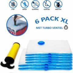 Blauwe VITAMO XL Set Stevige Vacuüm Opbergzakken met Pomp - Hoogwaardig, Ruimtebesparend en Herbruikbaar - Vacuümzak - 2 Handige XL Maten - 80x100cm, 90x130cm - 6 STUKS