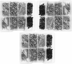 Wood, Tools & Deco Set van 3375 kleine spijkers in kunststof assortimentsdoosjes (11-30 mm)
