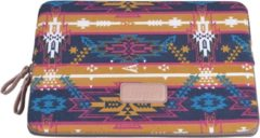 Lisen Laptop Sleeve tot 10 inch - 27 x 21 x 1,5 cm - Indian Style - Oranjegeel/Donkerblauw