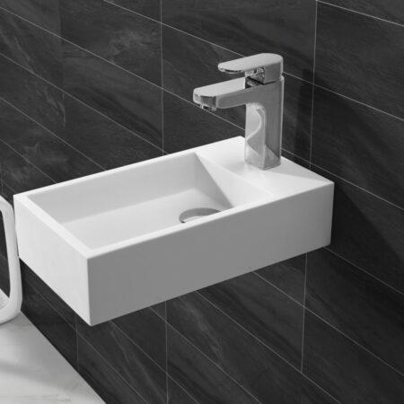 Afbeelding van Douche Concurrent Fontein Toilet Nila - Toiletmeubel Wc Solid Surface - Mat Wit Rechts 40x22cm