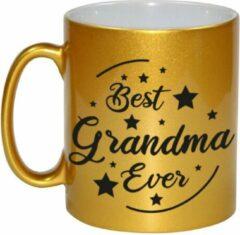 Bellatio Decorations Best Grandma Ever Cadeau Koffiemok / Theebeker - Goudkleurig - 330 Ml - Verjaardag / Bedankje - Mok Voor Oma