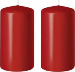 Enlightening Candles 2x Rode cilinderkaarsen/stompkaarsen 6 x 15 cm 58 branduren - Geurloze kaarsen rood - Woondecoraties