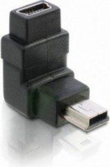 Zwarte DeLOCK Adapter USB-B mini USB-B mini 5-pin USB-B mini 5-pin Zwart kabeladapter/verloopstukje