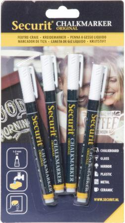 Afbeelding van Securit 4x Witte vaste vloeibare krijtstiften ronde punt 1-2 mm - Krijtstiften/hobby artikelen/kantoor benodigheden
