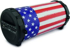 CALIBER Bluetooth speaker HPG407BT-USA - portable speaker met USA vlag, FM radio ,USB,micro sd aux in en oplaadbare accu