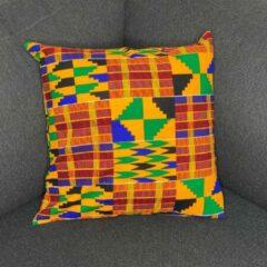 Blauwe Afabs Afrikaans kussen | Oranje kente - Sierkussen 45x45 - 100% Katoen | Sierkussens 45x45 Kussenhoes | Binnenkussen 45 x 45 | Tribal kussen | African pillow