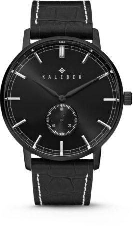 Afbeelding van Kaliber 7KW-00006 - Stalen Horloge met Leren Band - Zwart - 40 mm