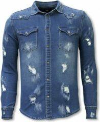 TRUE RISE Denim Shirt - Slim Fit Damaged Allover - Blauw - Maten: XS