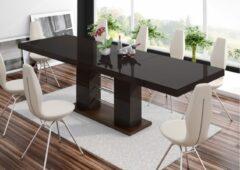 Bruine Hubertus Meble Uitschuifbare Eettafel Linosa 160cm tot 260cm - Hoogglans Bruin