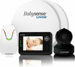 Zwarte Luvion Essential Limited Black Edition Babyfoon met Camera + Babysense 7 - Sensormatje - 5 Sterren Veiligheidsvoordeelbundel