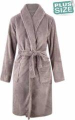 Relax Company Grote maten badjas unisex - sjaalkraag badjas van fleece - Plus size - grijs 3X/4XL