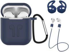 Donkerblauwe BTH 3-in-1 Siliconen Bescherm Hoesje Case voor Apple AirPods 2 Donker Blauw