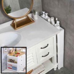 Witte Decopatent® Smal Keukenrek opbergrek 3 laags op Wieltjes met Vakken - Smalle kast - Keukentrolley met wielen - Badkamer - Nisrek