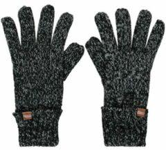 Sarlini Zwart/grijs gemeleerde gebreide handschoenen voor kinderen - One size - Warme fleece voering handschoenen voor jongens/meisjes