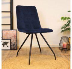 Zwarte Bronx71 Moderne eetkamerstoel Lisa luxury velvet donkerblauw