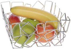 Zilveren Fruitmand vierkant 22x22x10,5 cm