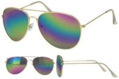 Merkloos / Sans marque Aviator zonnebril goud met olie/spiegel glazen voor volwassenen - Piloten zonnebrillen dames/heren