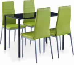 Merkloos / Sans marque Complete Eettafel set groen 5 delig met glazen tafel (Incl Dienblad) - Eet tafel + 4 Eetstoelen - DIneertafel - Eettafelstoelen - Eetkamerstoelen - Eethoek 4 persoons