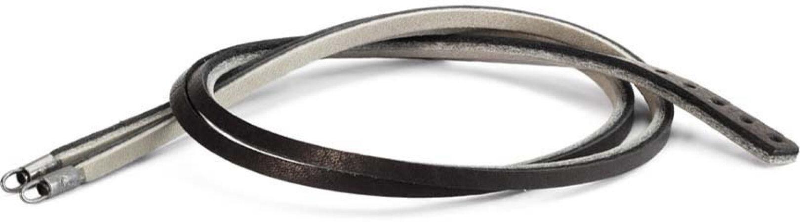 Afbeelding van Trollbeads TLEBR-00031 Leren armband zwart/grijs met zilver 36 cm