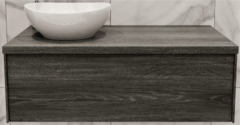 Boss & Wessing Badkamermeubel BWS Madrid Washed Oak 100 cm met Massief Topblad en Keramische Waskom Links (0 kraangaten)