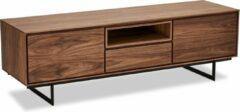 Solliden Tori TV-meubel 2 deuren, 1 vak, 1 lade walnoot fineer, zwart.