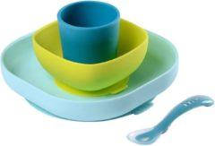 Béaba Siliconen Eet Set Met Zuignap Blauw