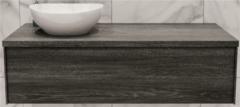 Boss & Wessing Badkamermeubel BWS Madrid Washed Oak 120 cm met Massief Topblad en Keramische Waskom Links (0 kraangaten)