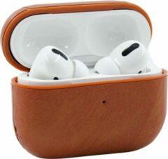 YPCd® Apple AirPods Pro Hoesje - Bruin- PU leer Hard Case
