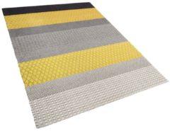 Beliani Vloerkleed grijs/geel 160 x 230 cm laagpolig AKKAYA