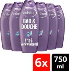 Andrélon Fris & Verkwikkend Bad & Douchegel - 6 x 750 ml - Voordeelverpakking