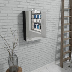 Zaro Beam mat zwarte spiegelkast 60x70x16cm 1 deur