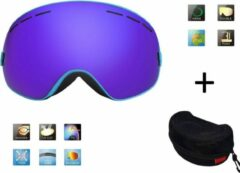 Improducts Ski bril + hard case lens Smoke Bleu frame Blauw F type 3 Cat. 0 tot 4 - ☀/☁ extra lens is optie.