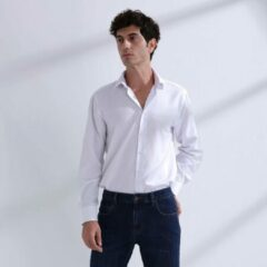 Heren Overhemd Wit MT 39 - Baurotti Lange Mouw Regular fit