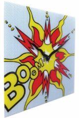 NeXtime Boom - Klok - Vierkant - Glas - 43x43 cm - Rood/ Geel
