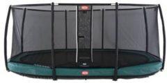 Trampoline BERG Grand Champion InGround 520 x 345 groen + Safety Net Deluxe