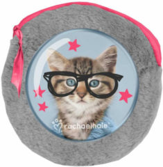 Rachaelhale Rachael Hale Clever Kitty - Rond Pluche Etuitje - Inclusief 2 Notebooks - 13x13cm - Grijs