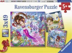 Ravensburger puzzel Betoverende zeemeerminnen - Drie puzzels - 49 stukjes - kinderpuzzel