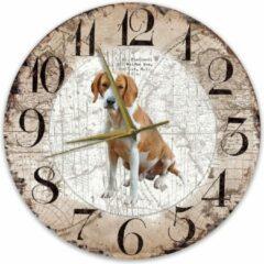Bruine Creatief Art Houten Klok - 30cm - Hond - Foxhound