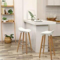 SONGMICS set van 2 barkruk zithoogte 73 cm counter kruk poten van beuken zitschaal van kunststof wit LJB20W