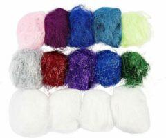 Witte Creative Plastic fibers, 500 gr, diverse kleuren