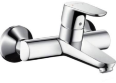 Hansgrohe Focus opbouw wandkraan met koppelingen hart-op-hart afstand=15cm EcoSmart met voorsprong 18cm chroom 31923000