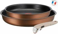 Bruine TEFAL L6759103 Lot 2 braadpannen 22/26 cm INGENIO ECO-RESPECT - Alle kookplaten inclusief inductie - afneembaar handvat moonlighte clay
