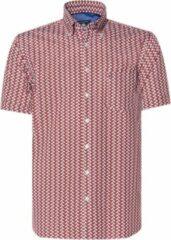 Donkerrode Campbell Classic Casual Overhemd Heren korte mouw