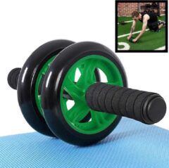 Decopatent® Ab Wheel - AB Roller wiel voor buikspieren - Trainingswiel - Incusief fitness Mat - Buikspier trainer - Wiel - Groen
